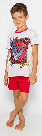 Pijama Infantil Homem Aranha Cinza e Vermelho - Coleção Pai e Filho