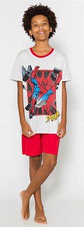 Pijama Juvenil Homem Aranha Cinza e Vermelho - Coleção Pai e Filho
