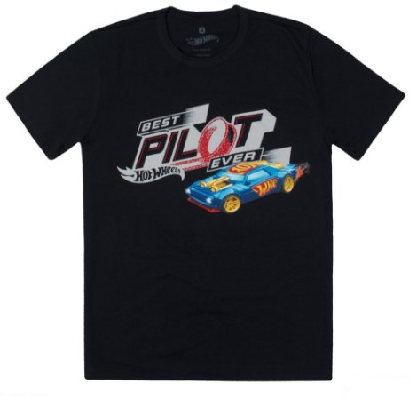Camiseta Adulto Masculina Hot Wheels Preta Coleção Pai e Filho  - Malwee