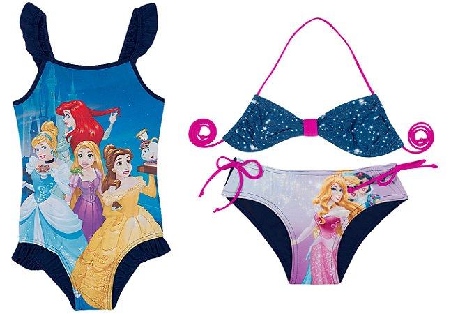 Kit Praia Infantil Princesas da Disney Azul Marinho - Tiptop