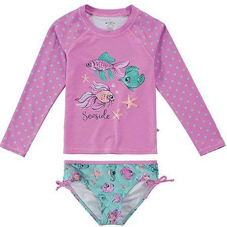 Conjunto Proteção UV Peixinhos Juvenil Rosa e Verde - Malwee