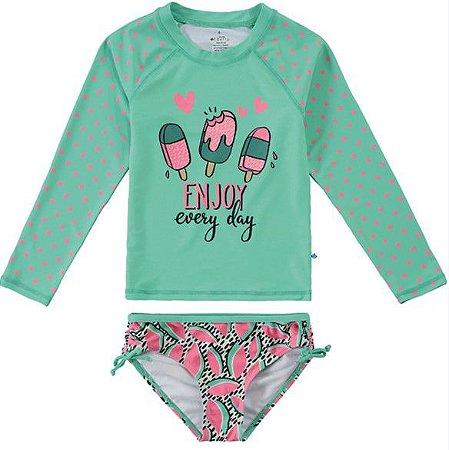 Conjunto Proteção UV Picolé Juvenil Menina Verde e Rosa - Malwee