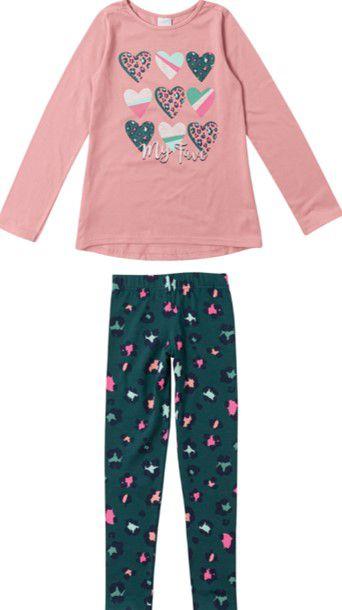 Conjunto Infantil Menina Corações Rosa e Verde Musgo - Malwee