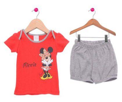 Conjunto de Blusa e Short da Minnie - Disney by Tricae - Vermelho e Cinza
