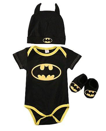 Conjunto Body Manga Curta do Batman - Bebê - Preto e Amarelo