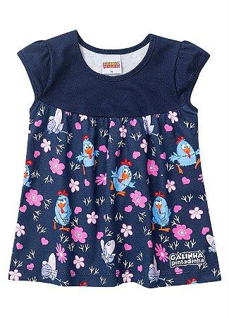 Vestido Galinha Pintadinha - Azul Marinho e Rosa - Bebê - Brandili