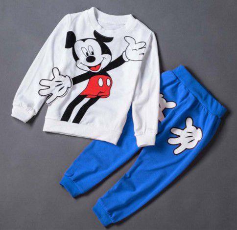 Conjunto de Camiseta e Calça do Mickey - Azul e Branco