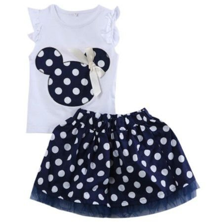 Conjunto de Saia e Blusa da Minnie - Azul e Branco