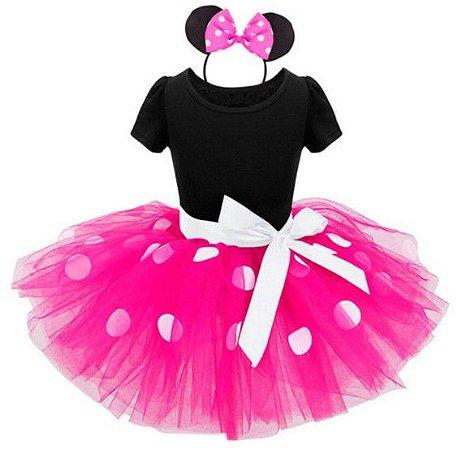 Fantasia da Minnie - Rosa c/ Tiara