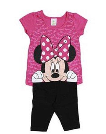 Conjunto de Blusa Minnie e Legging - Rosa e Preto - Brandili Baby