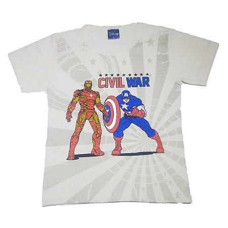 Camiseta do Homem de Ferro e Capitão América - Off White