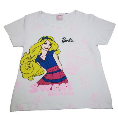 Blusa (Baby Look) da Barbie - Branca
