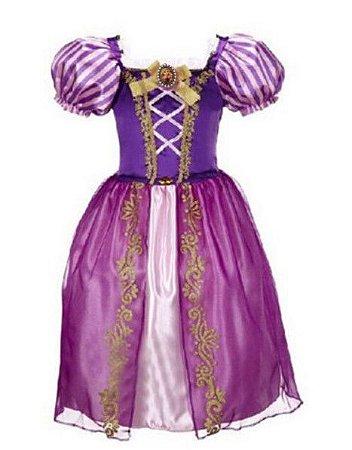 Fantasia Infantil Princesa Rapunzel - Roxa e Rosa