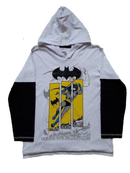Camiseta do Batman com Capuz - Branca e Preto - DC Comics