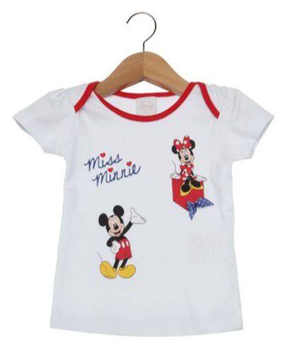 Blusa Baby da Minnie e Mickey - Branca - Disney by Tricae