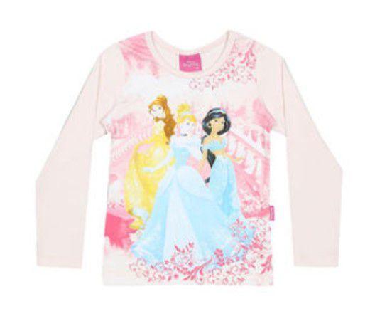 Blusa Princesas Disney - Rosa Bebê - Brandili