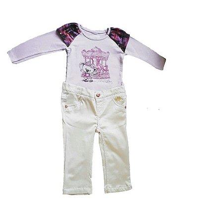 Conjunto de Blusa e Calça Bebê Off White - Lilica Ripilica Baby