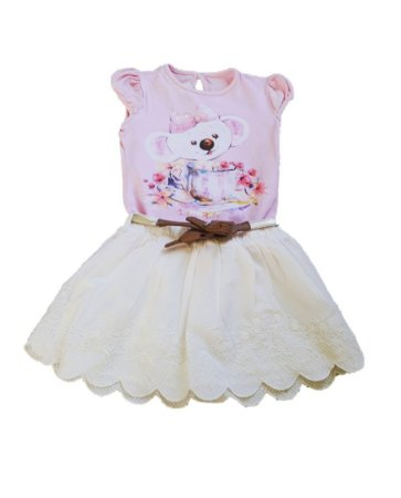 Conjunto de Blusa e Saia -  Lilica Ripilica Baby - Rosa e Off-White
