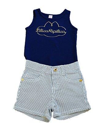 Conjunto Bebê de Regata e Short Azul - Lilica Ripilica Baby