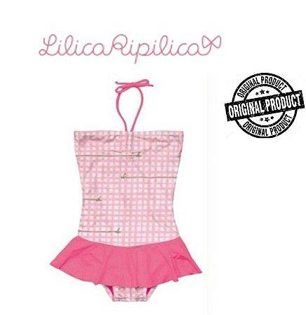 Maiô Bebê da Lilica Ripilica - Rosa e Branco