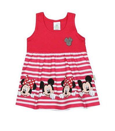 Vestido Bebê Listrado Minnie - Rosa e Branco - Disney - Brandili