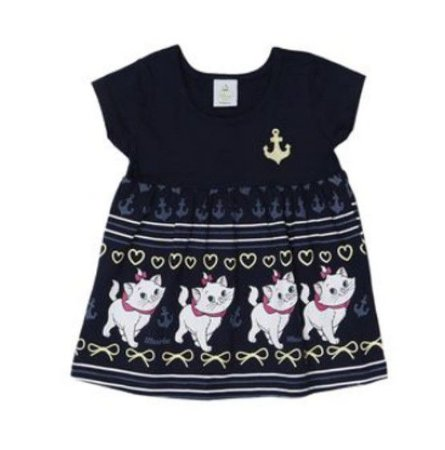 Vestido Bebê Bordado Gatinha Marie  - Azul Marinho - Brandili