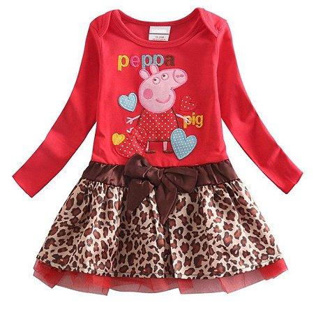 85f8e3c70 Vestido Infantil da Peppa Pig - Tigrado Marrom e Vermelho ...