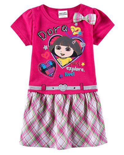 Vestido da Dora Aventureira - Rosa e Xadrez