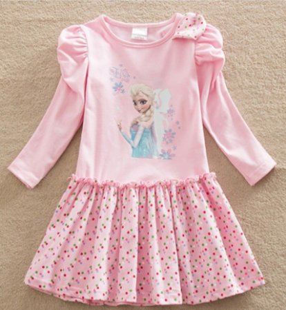 Vestido Infantil  Elsa - Frozen - Rosa