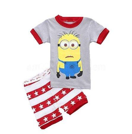 Pijama dos Minions - Vermelho e Cinza