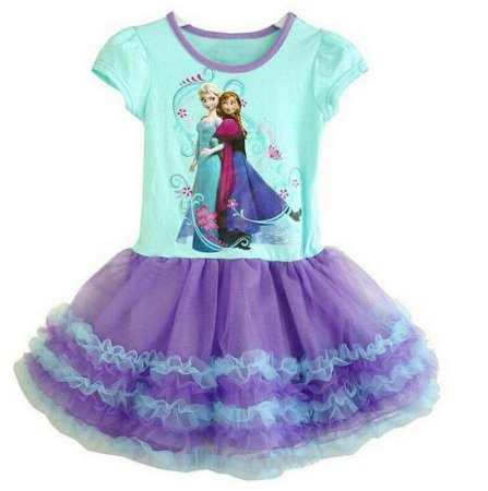 Vestido Bebê Anna e Elsa - Frozen - Tule Lilás