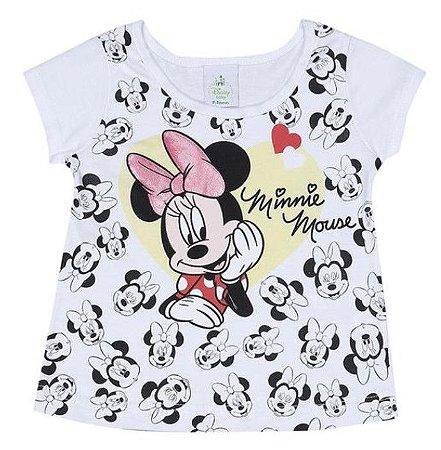 Blusa Baby da Minnie - Disney - Branco e Preto - Brandili