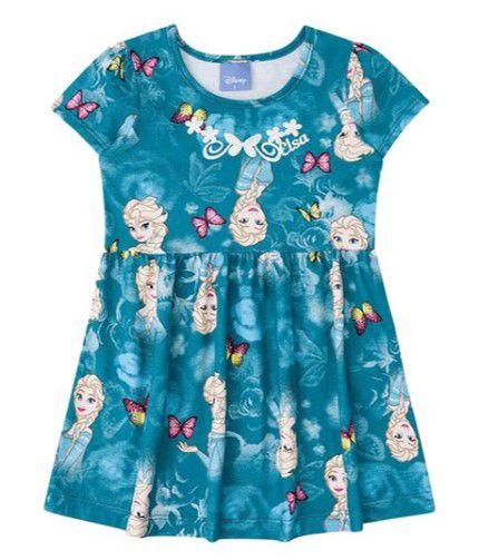 Vestido Infantil Elsa - Disney Frozen - Verde Petróleo - Brandili