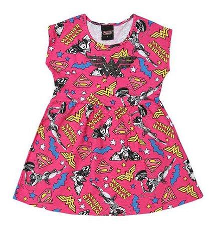 Vestido Infantil Mulher Maravilha - Rosa e Amarelo - Brandili