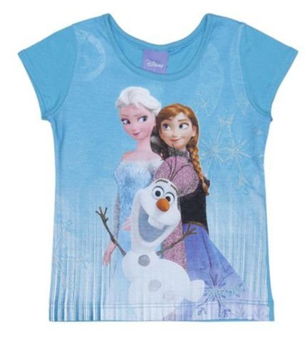 Blusa Anna, Elsa e Olaf (Frozen) - Azul Claro - Brandili