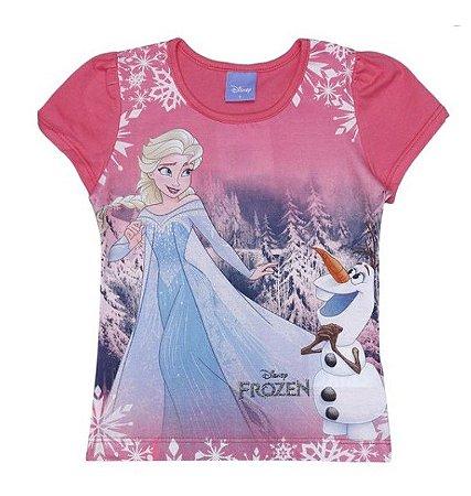 Blusa da Elsa e Olaf - Frozen - Rosa - Brandili