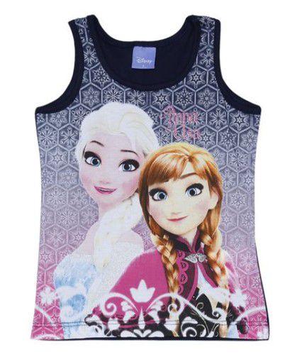 Blusa Anna e Elsa (Frozen) - Azul Marinho e Rosa - Brandili