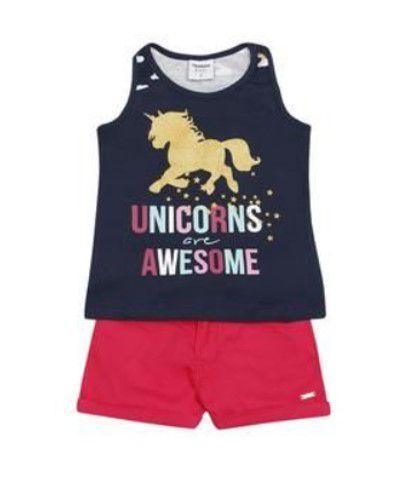 Conjunto de Blusa Unicórnio e Short - Azul Marinho e Pink