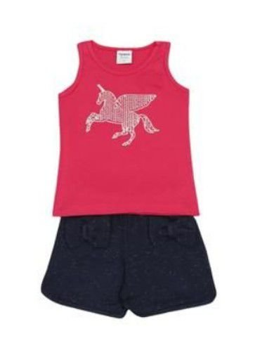 Conjunto de Blusa Unicórnio e Short com Laços - Rosa e Azul Marinho - Rovitex