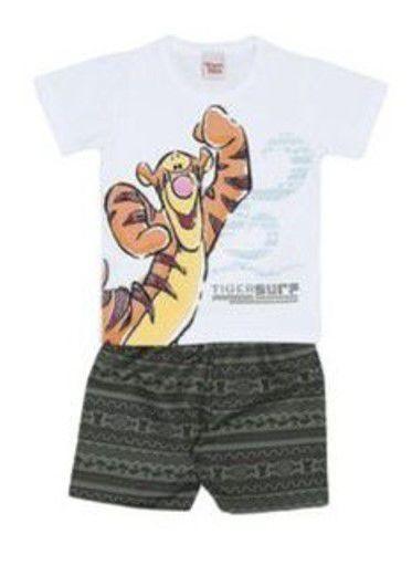 Conjunto de Camiseta e Bermuda do Tigrão - Branco e Verde Petróleo - Brandili