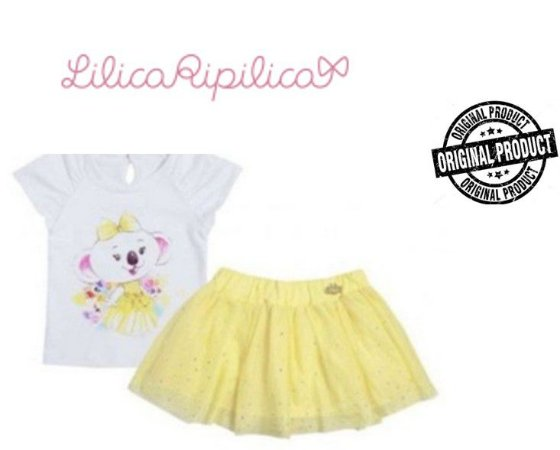 Conjunto de Blusa e Saia - Lilica Ripilica Baby - Amarelo e Branco