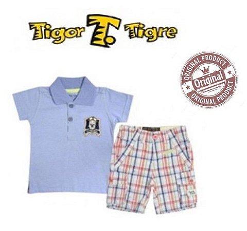 Conjunto de Camisa Polo e Short - Tigor Baby - Azul e Laranja