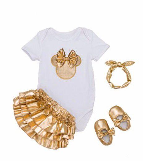 Conjunto de Body e Saia + Sapato e Tiara Minnie - Branco