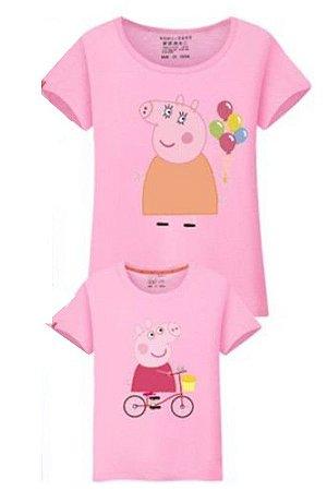Camiseta Peppa -Tal Mãe Tal Filha - Rosa