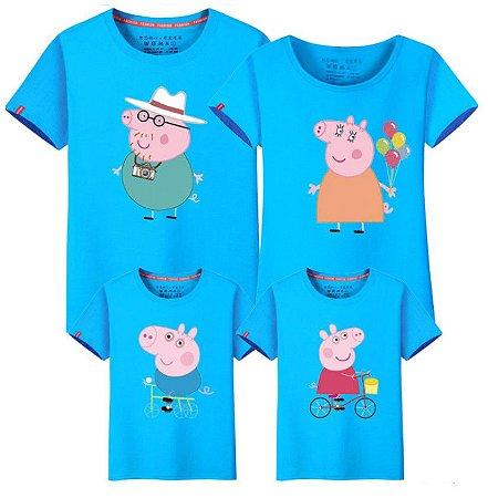 529622ef4bbe57 Camiseta Peppa - Família (Pai, Mãe, Filha, Filho) - Azul