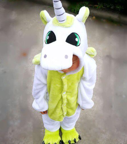 Pijama (macacão) Soft Unicórnio - Branco e Verde