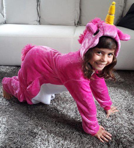 Pijama (macacão) Soft Unicórnio - Branco e Pink
