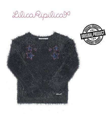 Blusão Felpudo - Lilica Ripilica - Preto com Apliques