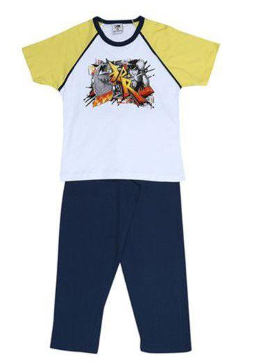 Pijama do Ben 10 - Manga Curta e Calça Comprida - Amarelo - Lupo