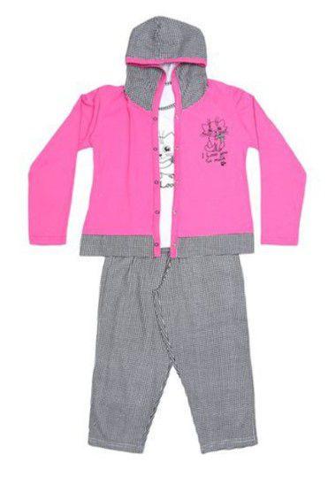 Pijama Infantil Gatinho 3 Peças - Rosa e Cinza - Lupo